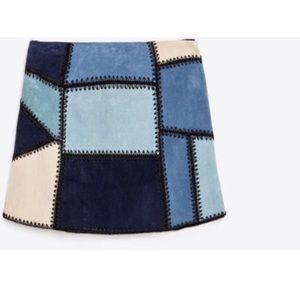 ZARA patchwork leather mini skirt